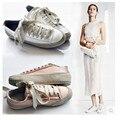 Alpargatas Zapatos de Mujer De Primavera 2017 de Seda Europea CALIENTE Plana punta Redonda encaje Hasta Zapatos Mujer Calzado Casual Tallas grandes Mujeres Zapatos Blanco