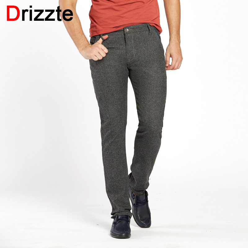 Drizzte Mens Fashion Slim Fit Sanded Chino Dress Pants Trousers