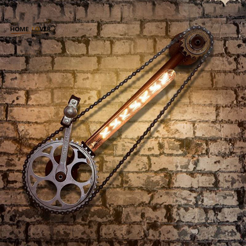 Loft Industrial Wall Lamps for home Vintage Bedside Wall Light Bicycle wheel Shade E27 Edison Bulbs Light For Indroor Lighting