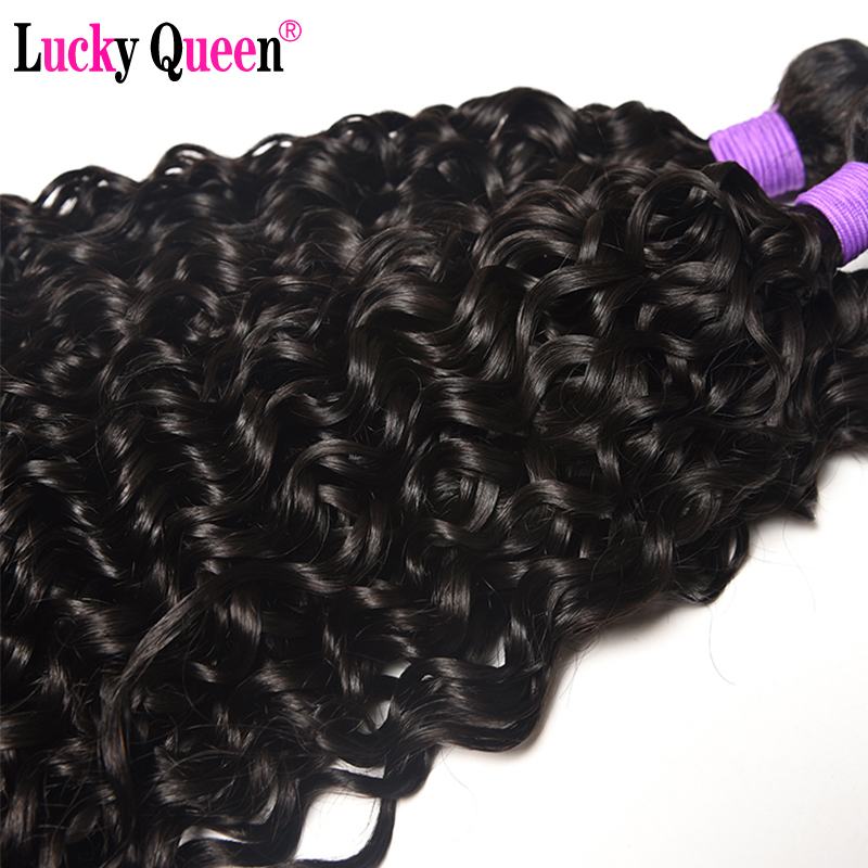Lucky Queen Hair Products Brazilian Water Wave Bundles With Closure Remy Hair 4PCS/lot 100% Human Hair Bundles with Closure