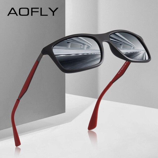 73363107168 AOFLY BRAND DESIGN Classic Polarized Sunglasses Men TR90 Square Frame Sun  Glasses Male Driving Goggles UV400