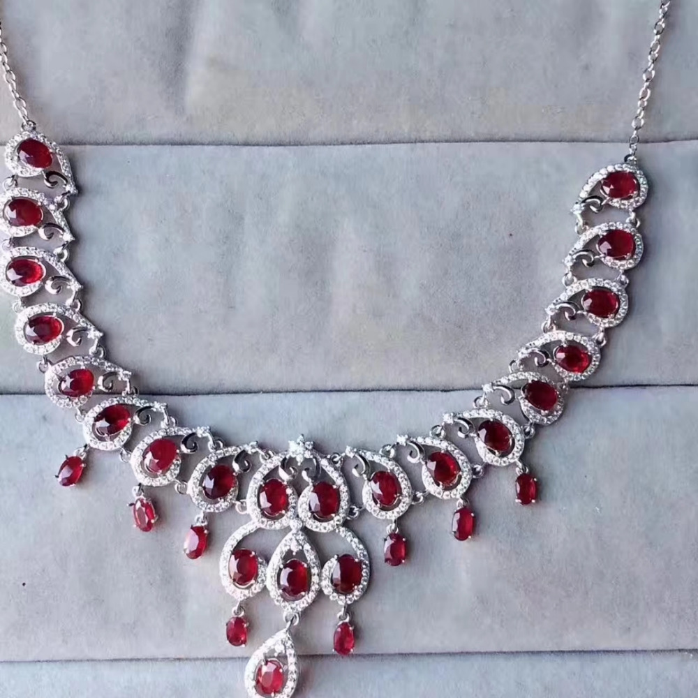 Extravagant water droplets Natural red ruby gem Necklace Natural gemstone Pendant Necklace 925 sliver women Girl wedding Jewelry недорго, оригинальная цена
