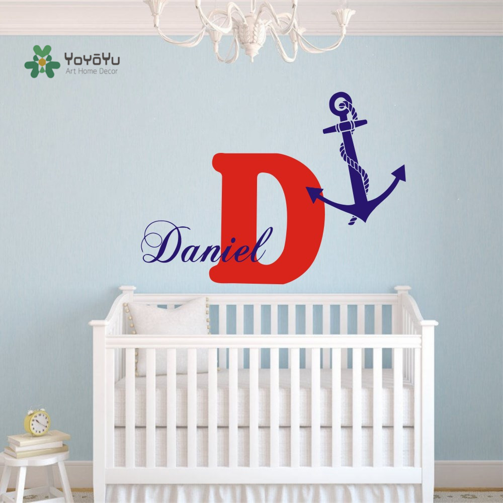 Us 10 9 22 Off Custom Boy Name Monogram Wall Decals Boy Name Personalized Decal Anchor Vinyl Stickers Bedroom Decor Wall Paper A 49 In Wall Stickers