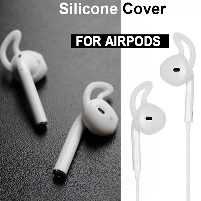 New For Apple Airpods Replacement Soft Silicone Antislip Ear Cover Hook Bluetooth Earphone Earbuds Tips Earphone Case Protector