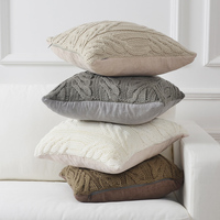 Nordic Style Thread Knitted Cushion Cover Chic Bed Pillow Cover Square Solid Color Double Sofa/Car Cushion Cover 45*45cm