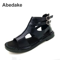 Abedake Brand Women Sandals Genuine Leather Handmade Sandals Woman Shoes Soft Casual Zip Antiskid Mather Gladiator
