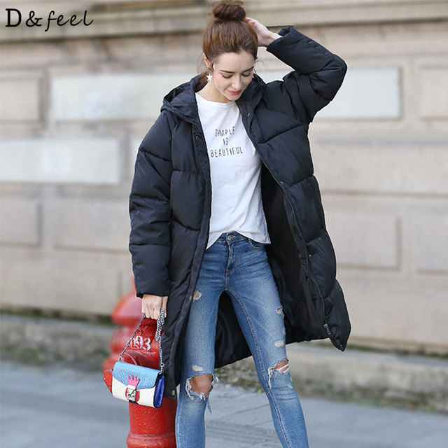 Autumn Winter 2018 Women Puffer Jacket Coat Loose Long Solid Fashion Ladies  Parka Plus Size Casual Down Warm Hooded Wadded Coat 7f6e71e9a8