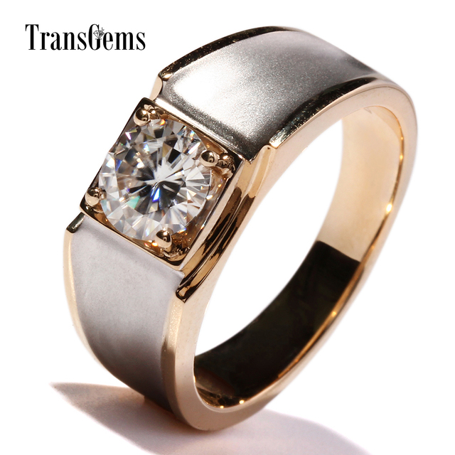 TransGems 14K Whie and Yellow Gold 1ct 6.5mm F Color Moissanite Engagement Ring for Men Solid Gold Men's Wedding Ring DCC031