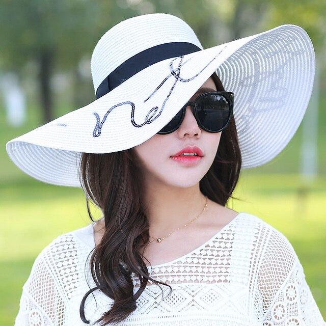c217d01bf3ff4 Women s beach hats Caps 2017 Summer Fashion Foldable Chiffon Floppy Sun  Hats Casual Ladies sombreros bowknot hat Ladies