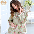 Hot Sale Women Pajamas New Spring 100% Cotton Sleepwear Pyjama Sets Long-Sleeved Floral Pijama Female Lace Round Neck 3758