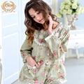 Hot Sale Women Pajamas New Spring 100% Cotton Sleepwear Pyjama Sets Long-Sleeved Floral Pijama Female Lace Round Neck 3758