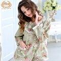 Venda quente Mulheres Pijamas Nova Primavera 100% Pijama de Algodão Sleepwear Conjuntos de Pijama Longo-Manga Comprida Floral Lace Feminino Em Torno Do Pescoço 3758