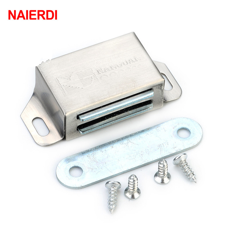NAIERDI-519 Stainless Steel Magnetic Cabinet Catches Push to Open Touch Kitchen Door Stop Damper Buffers With ScrewsNAIERDI-519 Stainless Steel Magnetic Cabinet Catches Push to Open Touch Kitchen Door Stop Damper Buffers With Screws