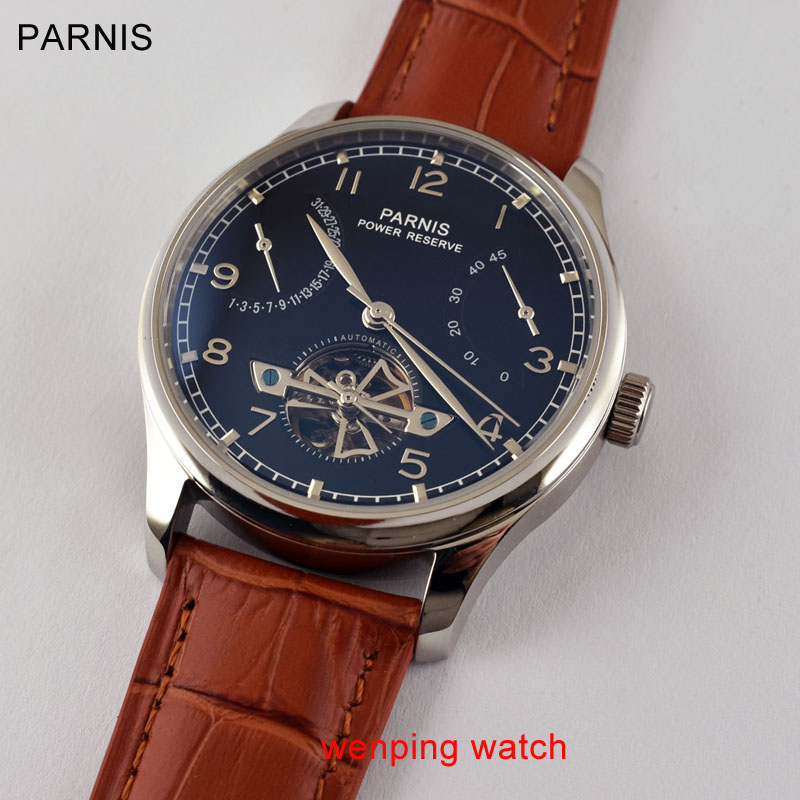 Parnis Black Dial Silver steel hands stainless steel case Power Reserve 43mm automatic mens Watch E387