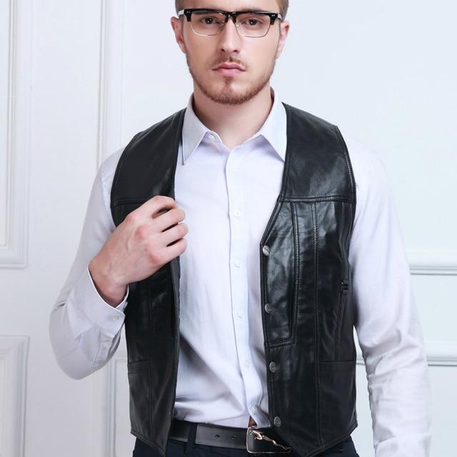 Black Genuine Leather Vest 2016 New Middle-aged Male Sheepskin Multi-pockets Single Breasted Photography Vests Riding Jacket Man