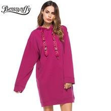 Benuynffy Beading Loose Sweatshirt Dress Women Hood