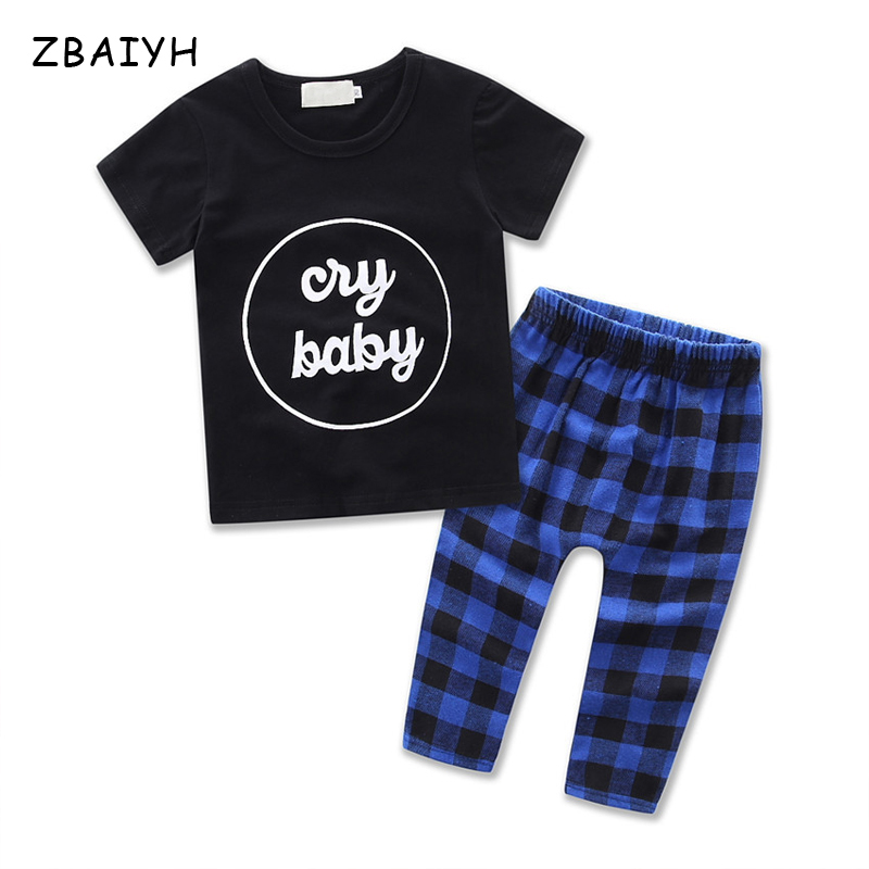 Fashion Boys Clothes Infant Clothing Sets Baby Boys Basic T-Shirts+Pants Letter Tops Plaid Pants Boutique Costume For Toddler