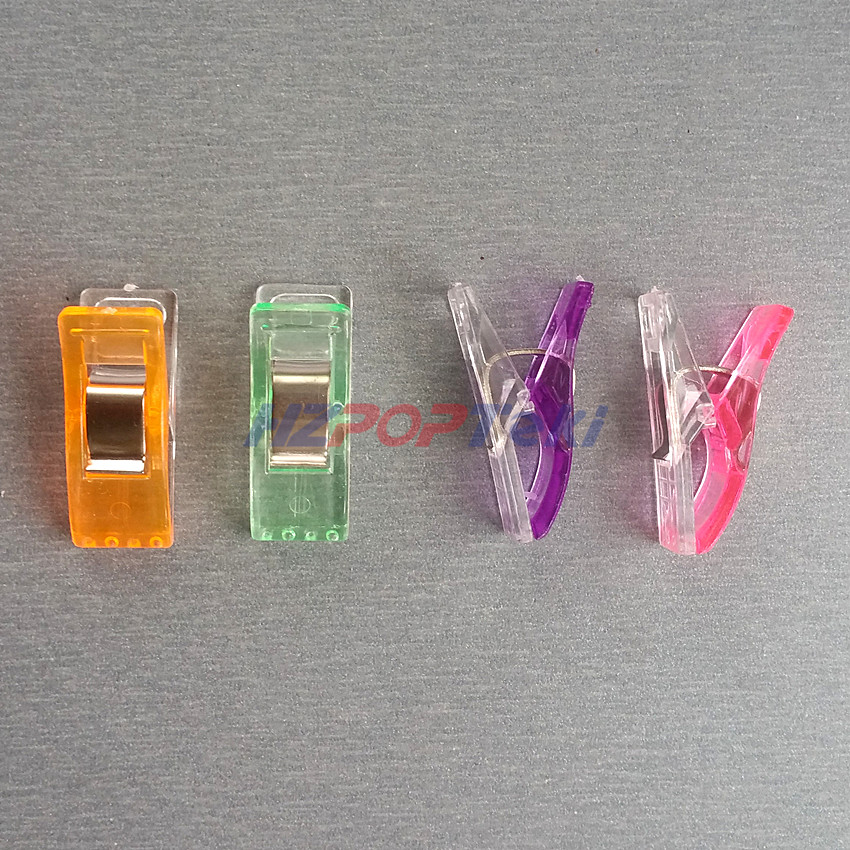 Plastic 2.7x1cm Sewing Fabric Bordure Tidy Grocery Products Package Grip Clamp Spring Paper Small Clips Half Clear&Color 10pcs