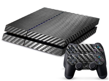 Black Carbon Fiber Game Decal Skin Stickers For Playstation 4 Console + 2Pcs Stickers For PS4 Controller Free Shipping