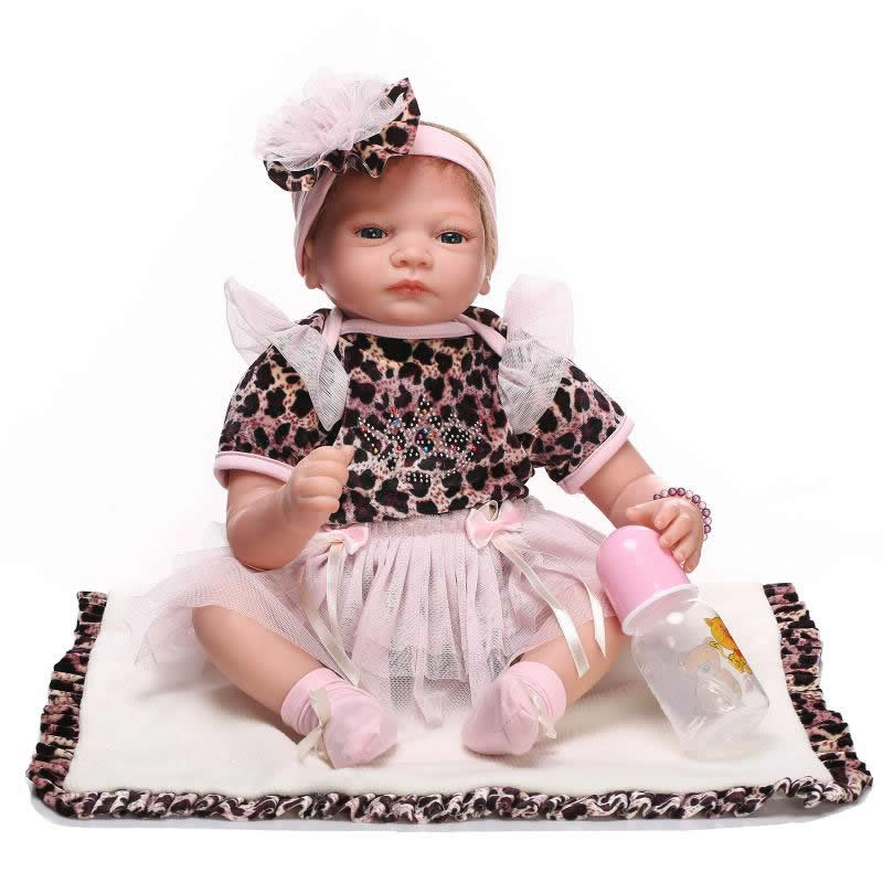 NPK Collection Reborn Baby Doll With Hair 22 Inch Soft Newborn Silicone Babies With Leopard Dress Kids Birthday Christmas Gift hot sale 2016 npk 22 inch reborn baby doll lovely soft silicone newborn girl dolls as birthday christmas gifts free pacifier