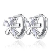 все цены на 100% 925 sterling silver fashion shiny crystal flower ladies`stud earrings jewelry Anti allergy cheap gift
