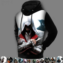 Super Quality Double Fleece Lined 3D Printed Pullover Coat Assassins Creed Hoodie Jackets Assasins Creed Sweatshirt