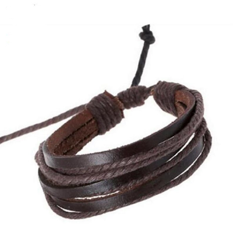 Hot Sale 2018 Summer Fashion Simple Style Bracelet Hemp Rope Braided Leather Chain Unisex Cuff Bracelets Couple Bracelet Jewelry