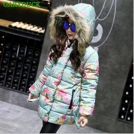 GARYDUCK 2017 new winter Girls jackets coat kids clothes high quality coats korean parka down for 4~14 year fashion Girl Clothes