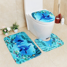 Flannel Printing Thickening and Warm 3D Cartoon Bathroom Slip-proof Toilet Cushion Three-piece Set bathroom carpet bath mat tower pinted three piece toilet mat set