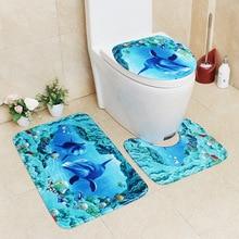 Flannel Printing Thickening and Warm 3D Cartoon Bathroom Slip-proof Toilet Cushion Three-piece Set bathroom carpet bath mat cartoon frog style warm keeping flannel toilet mat cushion green