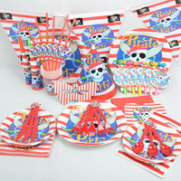 90 Pcs The Pirate Theme Birthday Party Tableware Sets Boys Girls Favors Set Children Party Decoration
