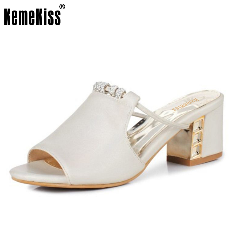 KemeKiss Size 31-43 Lady High Heel Sandals Beading Open Toe Slipper Summer Shoes Women Sexy Beach Party Female Heeled Footwear meotina shoes women sandals summer sexy stiletto high heel sandals open toe ankle strap party pumps lady shoes purple size 34 43