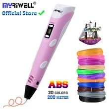 Myriwell 3d caneta diy impressora 3d caneta desenho canetas impressão 3d melhor para crianças com filamento abs 1.75mm natal presente de aniversário