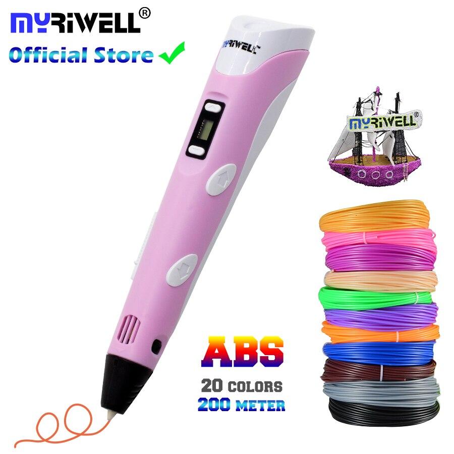 Myriwell 3d caneta, diy 3d impressora, canetas de desenho, impressão 3d, melhor para crianças com filamento abs 1.75mm, natal presente de aniversário