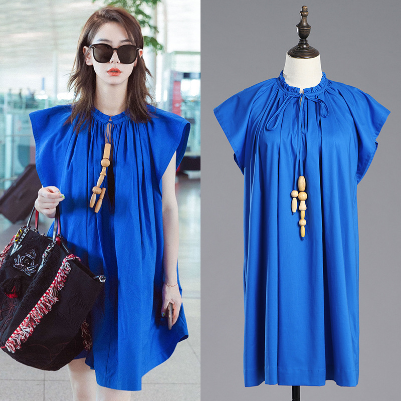 LANMREM 2019 Summer New Fashion Trend Women Solid Color Casual Loose Large Size Short Round Neck Dress TC050