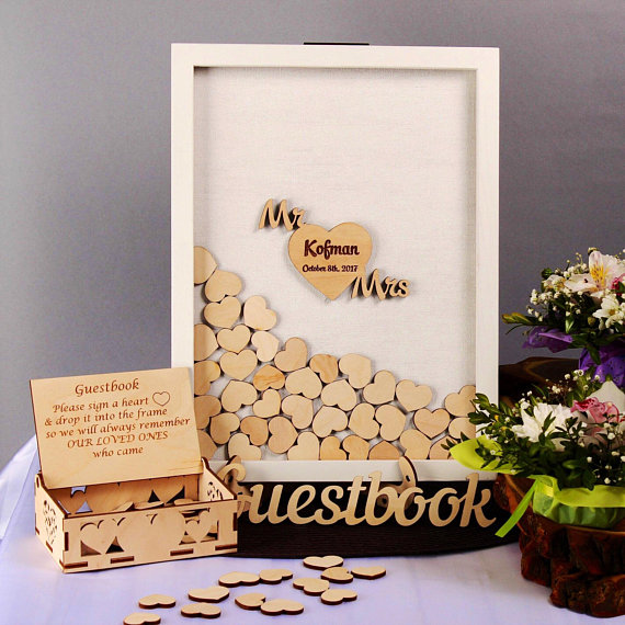 Personalize White Frame Wedding Guest Book Alternative Drop Top