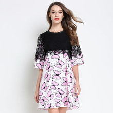 2017 Summer style lace patchwork butterfly printed chiffon dress women Plus Size loose elegant casual vestidos tunic XXXXXL 6826