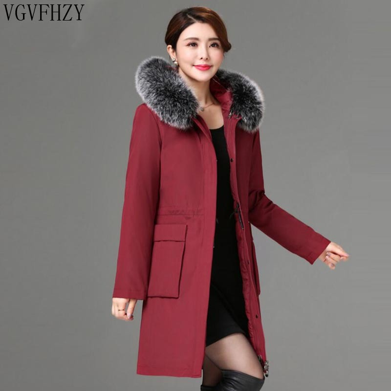 2018 зима новый белый пуховик Женская куртка пальто толстый Лисий меховой воротник теплая длинная верхняя одежда пальто высокого качества то