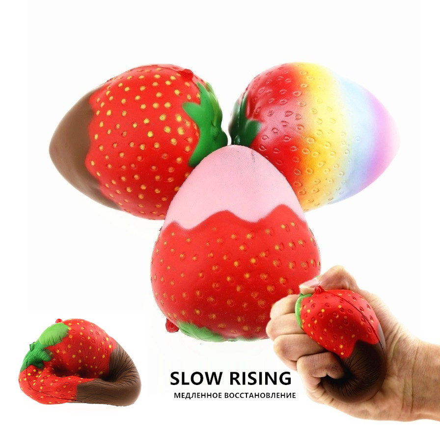 Slow Rising  Squishy Soft Strawberry Jumbo Toy Anti-stress Fruit Baby Toys Squeeze Fruit