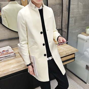 Autumn Winter  New Men S Fashion Boutique Slim Leisure Station Collar Style Trench Coats High -Grade Business Overcoat