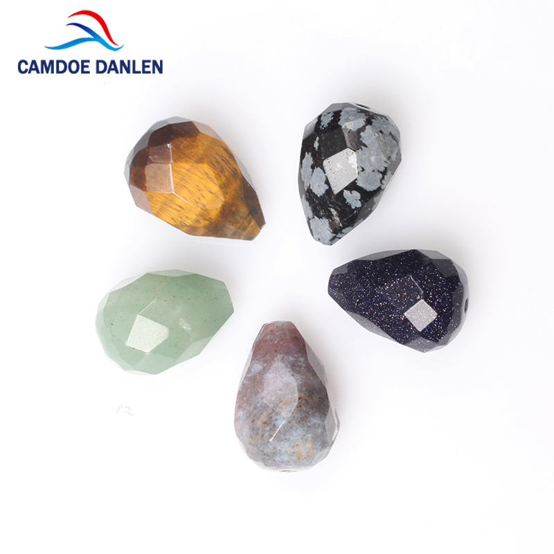 CAMDOE DANLEN 2PCS Natural Stone Beads Pear Shape Agates Diy Accessories Charms Findings Beading Pendant Bead For Jewelry Making