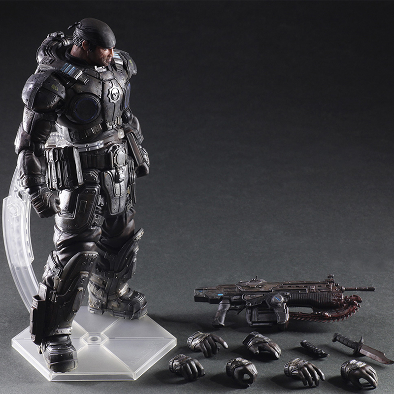 27cm Play Arts Kai PA Marcus Fenix Game Gears of War 3 War Machine Action Figure Collection Model Toy Free Shipping фара fenix bc21r