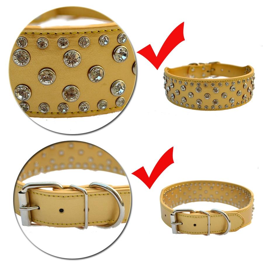 Mode Diamante Dog Collar Besar 2 Inch Lebar Pu Kulit Kerah Untuk - Produk hewan peliharaan - Foto 5