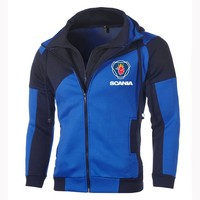 Fashion Men's Scania Hoodie Personality Color Double Zip Hooded Cardigan Slim Jacket