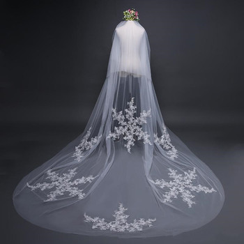 2019 Designed Bridal Veils Lace Appliques Two-Layer Blush Face Amazing Wedding Veils Bridal Accessories with Combs