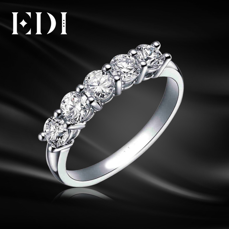 EDI 5 Stone Diamond Wedding Ring 9K Solid White Gold Round Simulated Diamond Engagement Wedding Matching Band For Women Classic