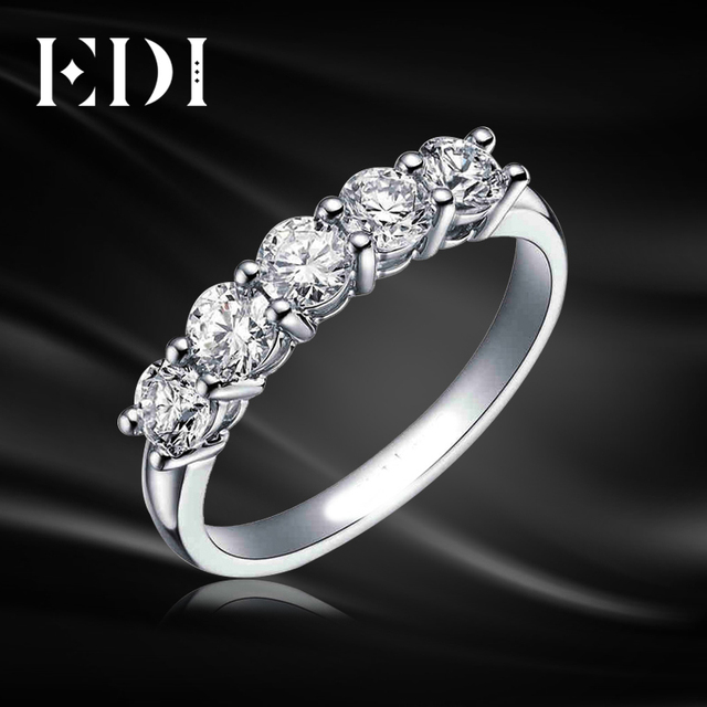Edi 5 Stone Diamond Wedding Ring 9k Solid White Gold Round Simulated Engagement Matching