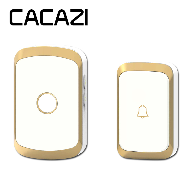 CACAZI black/gold/silver wireless doorbell waterproof AC 110-220V 300M remote door bell 36 melody 4 volume ring bell door chimeCACAZI black/gold/silver wireless doorbell waterproof AC 110-220V 300M remote door bell 36 melody 4 volume ring bell door chime
