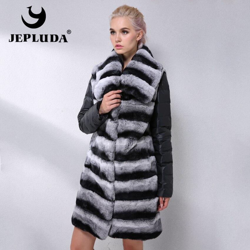 JEPLUDA New Natural Rex Rabbit Fur Vest Gola Dupla Utilização Para Baixo Manga Hem Destacável Real Inverno Casaco De Pele Das Mulheres Reais casaco de peles