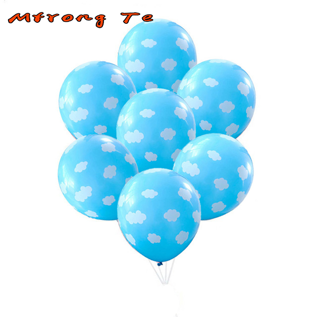 10pcslot 12inch Blue Cute White Cloud Latex Balloon Wedding Baby Shower Decor Kids 1st Happy Birthday Balloons Party Supplies